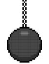 Bit pixel art wrecking ball on a chain assets are separate layers Stock Photo