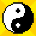 Bit pixel art yin yang symbol on a yellow background each is a separate square and assets are on separate layers Royalty Free Stock Image