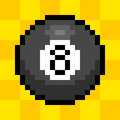 Bit pixel ball representation of the billiard on a yellow background Stock Photography