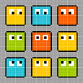 Bit pixel block characters looking in different directions each character is on a separate layer Royalty Free Stock Photo