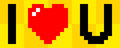 Bit pixel composition of the phrase i heart u Stock Photography