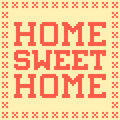 Bit pixel home sweet home mat created in adobe illustrator with the words border and background on separate layers Stock Photography