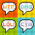 Bit pixel letter acronyms in speech bubbles representation of common Stock Images