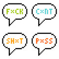 Bit pixel letter swear words in speech bubbles isolate on wh white created adobe illustrator each is left as a square for Stock Images