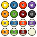 Bit pixel pool balls billiard depicted in art Stock Photography