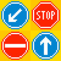 Bit pixel road traffic signs keep left stop no entry straight ahead Stock Images