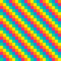 Bit seamless diagonal rainbow background tile using pink orange yellow green and blue Stock Image