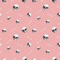 8bit Skull pattern pink Royalty Free Stock Photo