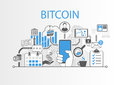 Bitcoin background illustration with hand holding smartphone and icons