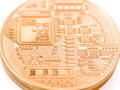 Bitcoin backside of a coin bit coin btc the new virtual money Royalty Free Stock Images