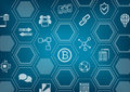 Bitcoin and blockchain blue and grey background with blurred city skyline and polygon overlay