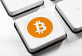 Bitcoin button selective focus on the Royalty Free Stock Photography
