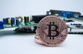 Bitcoin with circuit board is the new currency of the internet on white in background landscape Stock Photography