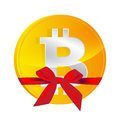 Bitcoin coin with gift bow isolated on white Royalty Free Stock Photography