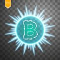 Bitcoin coin over explosion background with blue glitters stars and sparkles on transparent background Royalty Free Stock Photo