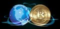 Bitcoin concept cryptocurrency coin with digital world Stock Images