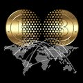 Bitcoin concept cryptocurrency coin transaction on digital world map background Stock Photos
