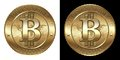 Bitcoin cryptocurrency coin isolated on black and white background Royalty Free Stock Photography