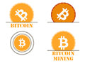 Bitcoin cryptocurrency. The monetary system icons.