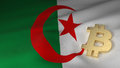 Bitcoin Currency Symbol on Flag of Algeria Royalty Free Stock Photo