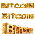 Bitcoin damaged text isolated on white the word rendered with blender d Stock Photography