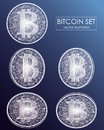 Bitcoin digital currency vector icons and symbols. Crypto currency token coins with bitcoin symbol.