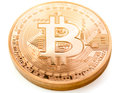 Bitcoin frontside of a coin bit coin btc the new virtual money Stock Image