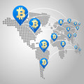 Bitcoin global business concept dot world maps with virtual currency Stock Photography