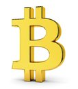 Bitcoin golden symbol of isolated on white background crypto currency e business and technology concept Stock Photos