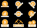 Bitcoin. Icon collection, production cryptocurrency. Vector illustration. Bitcoin mining.