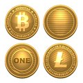 Bitcoin and litecoin isolated on white money Royalty Free Stock Image
