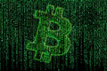 Bitcoin matrix sign on the background Royalty Free Stock Image