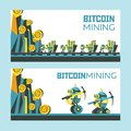 Bitcoin mining. Vector conceptual illustration. Cryptocurrency.