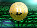 Bitcoin one on binary code computing background the new virtual money Royalty Free Stock Photos