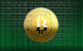 Bitcoin one on binary code computing background the new virtual money Royalty Free Stock Images