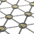 Bitcoin peer to peer network vizualized as a grid of connected one each other black and golden currency s coins over white Stock Photo