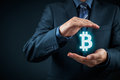 Bitcoin protection and use in business and commerce Stock Photos