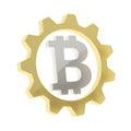 Bitcoin sign inside of a cogwheel gear isolated