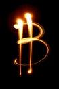 Bitcoin sign - light painting