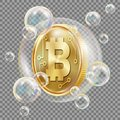 Bitcoin In Soap Bubble Vector. Investment Risk. Bitcoin Crash Digital Money. Crypto Currency Market. Realistic Isolated Royalty Free Stock Photo