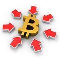 Bitcoin in the spotlight golden symbol surrounded by red arrows Royalty Free Stock Photos