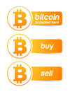 Bitcoin sticker banner set on white Stock Photo