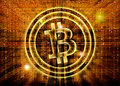 Bitcoin symbol digital abstract background golden Royalty Free Stock Photo