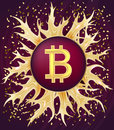 Bitcoin symbol and gold ornaments.