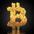 Bitcoin symbol with tech texture