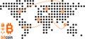 Bitcoin transactions world stylized map