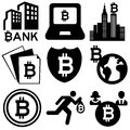 Bitcoin variety of icons about the internet currency Stock Photo