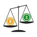 Bitcoin vs dollar vector concept with balance scales. Flat design vector illustration