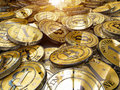Bitcoins a bunch of bitcoin the new successful virtual money Royalty Free Stock Photos