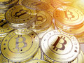 Bitcoins a bunch of bitcoin the new successful virtual money Stock Image